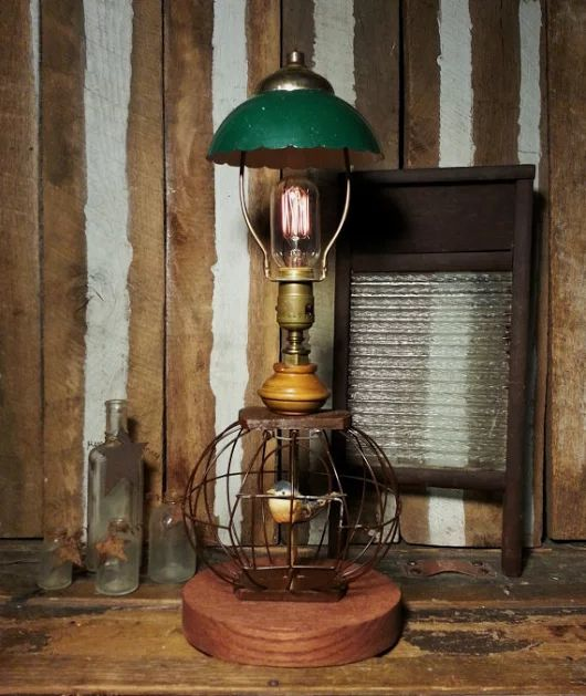 53 best retro lamps images on pinterest retro lamp lamps and one of a kind wire bird cage birdcage deco decor repurposed upcycled vintage brass socket lamp wedison style light bulb green metal shade greentooth Gallery