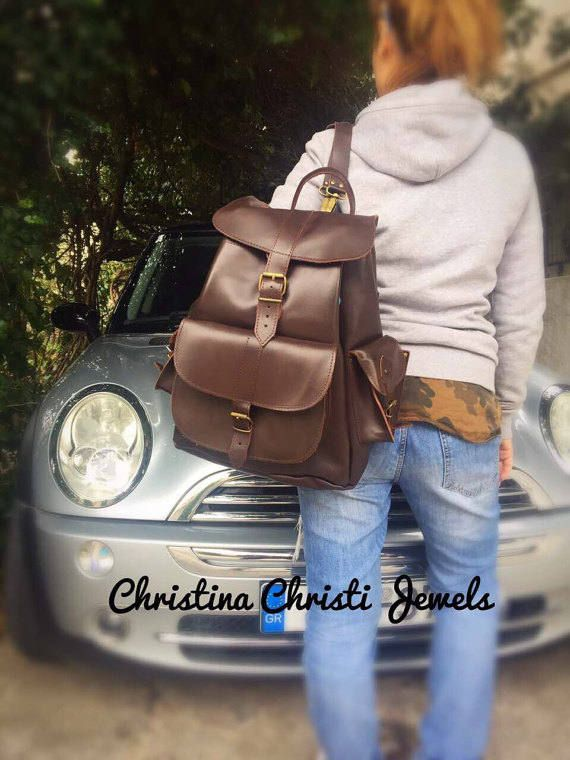 Handmade Leather Backpack, Brown Backpack, Leather Rucksack, Made From Greek Genuine Leather by Christina Christi Jewels.