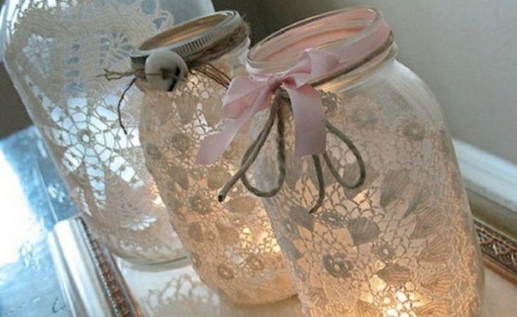 ΚΕΡΑΚΙΑ: Lace, Candle, Masons, Wedding Ideas, Mason Jars, Diy, Craft Ideas, Crafts