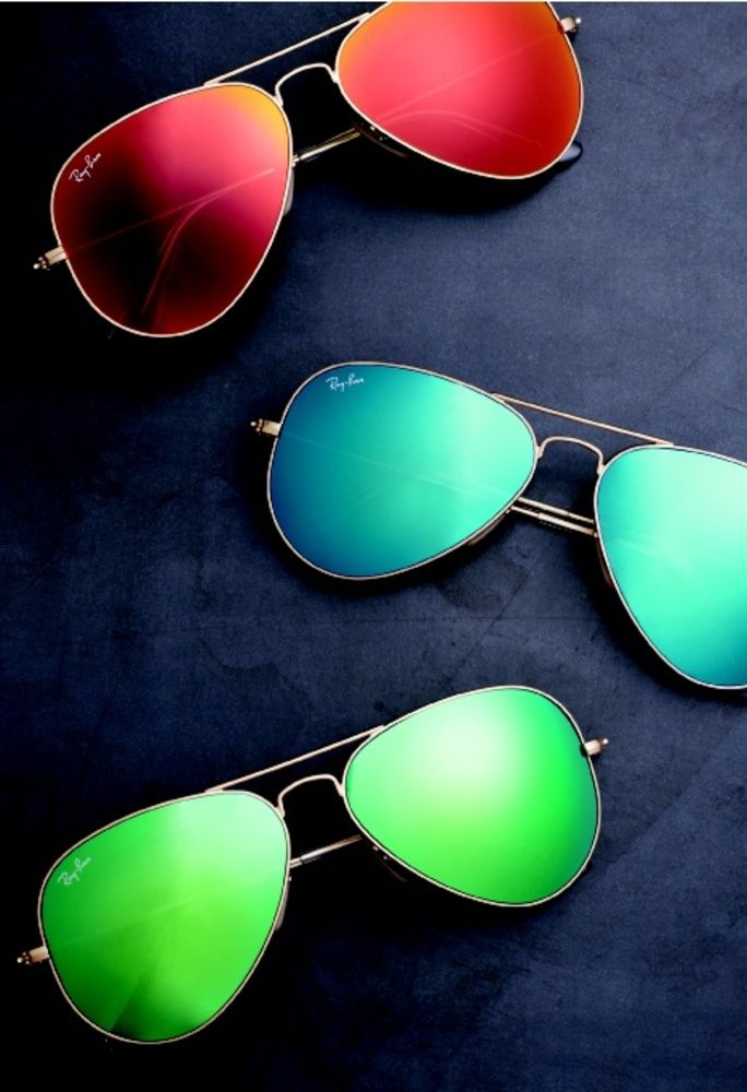 Ray Bans with colored lenses. How fresh can you get? #mirrorsunglasses