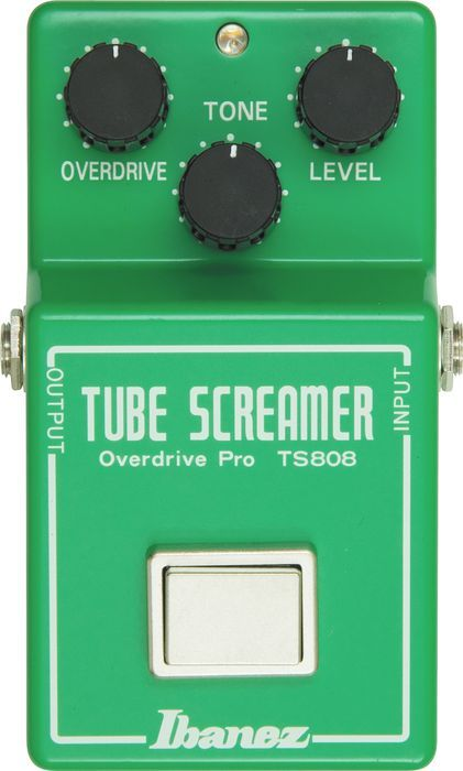 Ibanez TS808 Vintage Tube Screamer Reissue. I used the original for years. It is a good mid distortion pedal, but it will not add the dynamics of a tube amp.