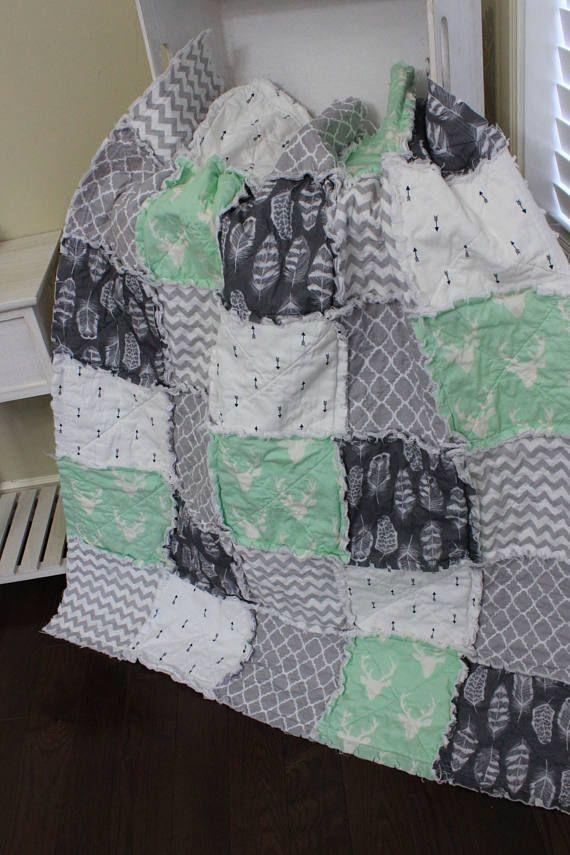 Rag Quilt Baby Rag Quilt Crib Blanket Premier Prints Mint