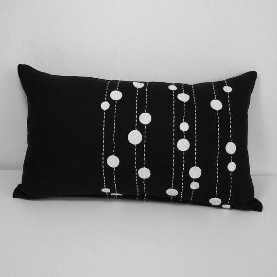 Sukan / Linen Pillow Cover Black White - Lumbar Pillow Cover - Decorative Throw Pillow Cover