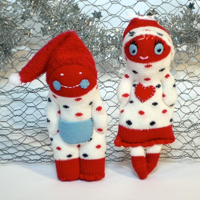 Sock Pixie Couple, Jonny & Connie - Red, White & Spotty £12.00