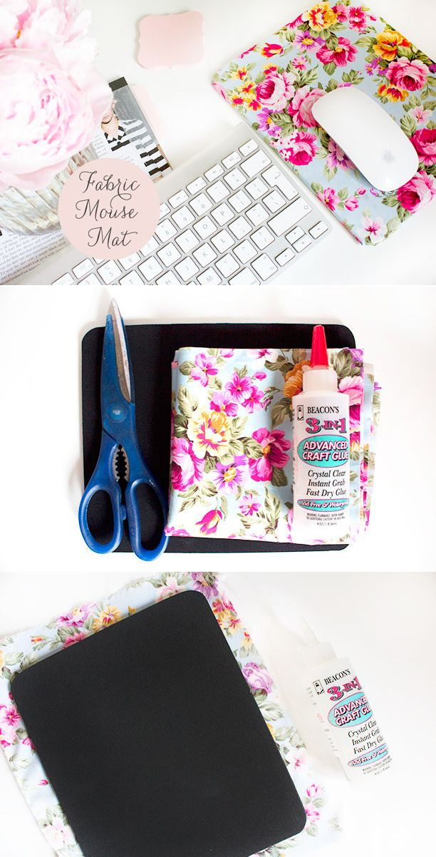 DIY Fabric Mouse Mat - Nouvelle Daily  i want a cute pink/white mousemat!!  u could just buy me a black one and i could make a really cute one from fabric honey :OO<3