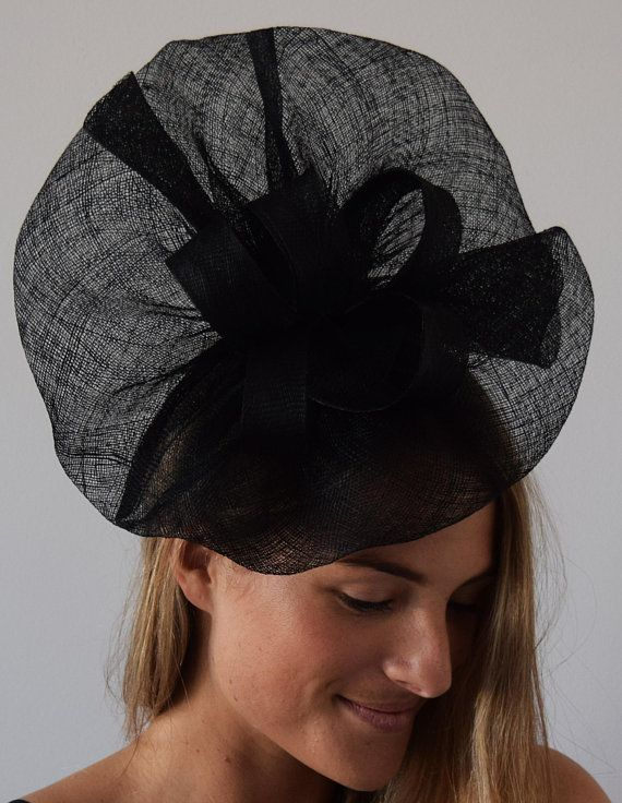 ce77f8b1b69d TheHeadwearBoutique on Etsy ($65 USD)- Tia Large Black Royal Wedding Style  Fascinator, Kentucky Derby Hat 2018