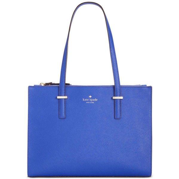 kate spade new york Cedar Street Small Jensen Tote ($298) ❤ liked on Polyvore featuring bags, handbags, tote bags, nightlife blue, tote bag purse, handbags tote bags, kate spade tote bags, blue tote bag and blue purse