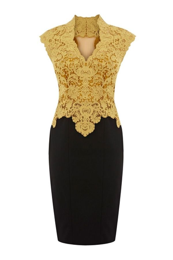 White and Gold Wedding. Mother of the Bride. Mother of the Groom. Elegant Floral Detailed Lace Dress - OASAP.com