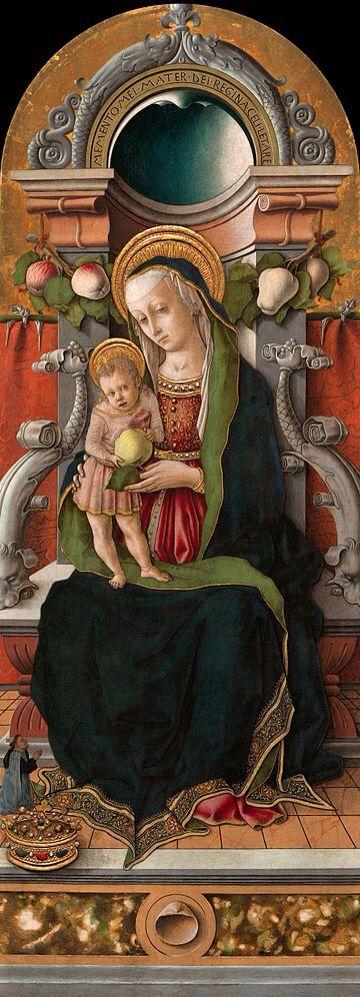 "CRIVELLI. ""Madonna Cook"". tempera e oro su tavola . 129,5x54,4 cm. 1470.National Gallery of Art, Washington."