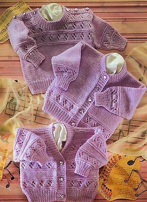 "S3838 Vintage Baby Knitting Pattern DK 16-22"" Cardigans Sweater 0-24 months"