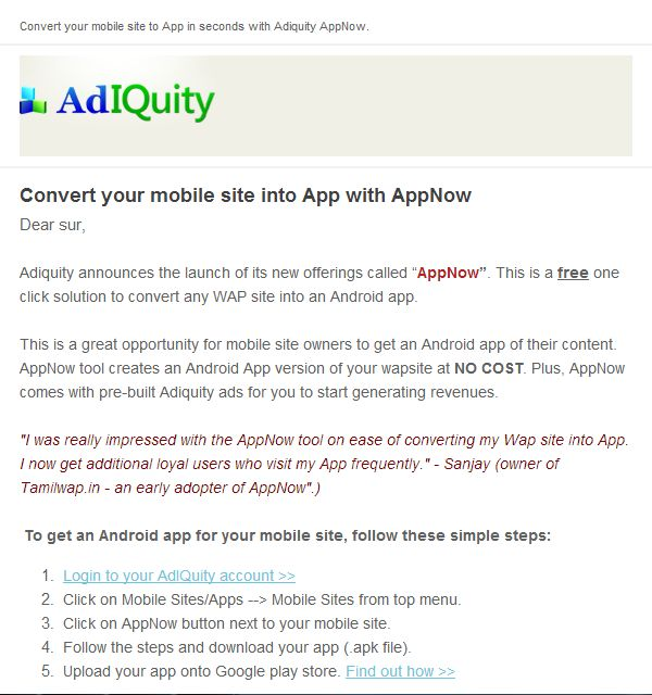 android apps free wap sites