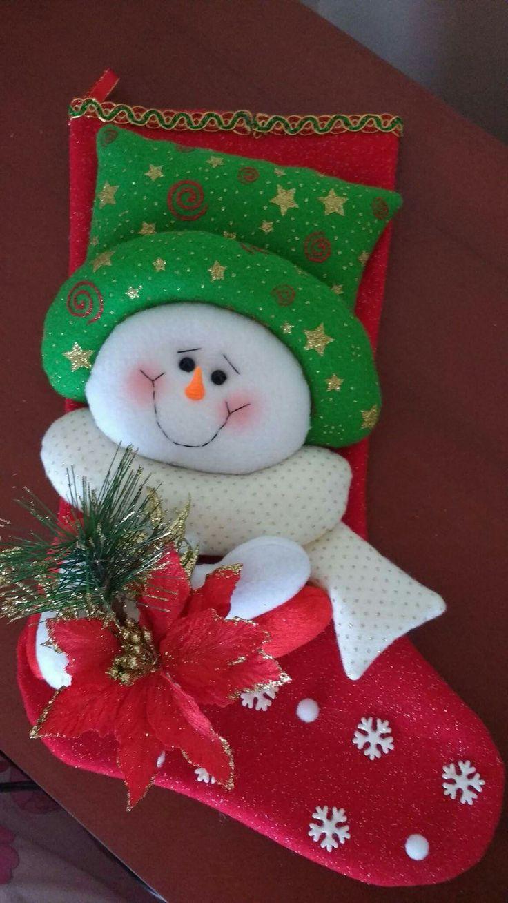 Mejores 211 Im Genes De Botas Navide As En Pinterest Botas De  ~ Manualidades De Fieltro De Navidad