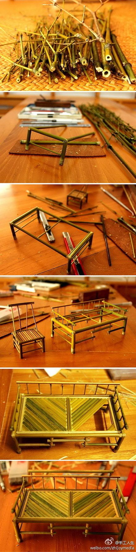 Instead of little bamboo I will use bigger bamboo and make house furniture ^.^: Diy'S, Diy Crafts, Mini Bamboo, Fairy Gardens, Dollhouse, Bamboo Craft, Bamboo Furniture, Miniature