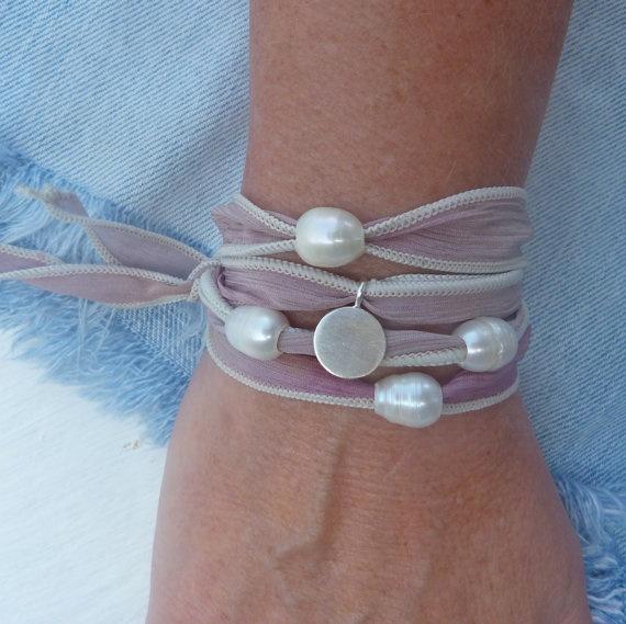 Hand dyed silk wrap bracelet.  $32.00