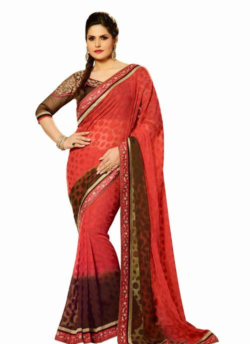 Zarine Khan Marvelous Red & Saddle Brown Embroidered Saree
