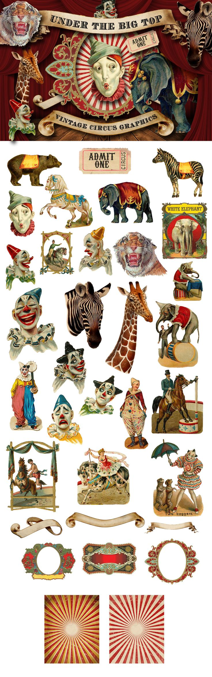 Vintage Circus Graphics by Eclectic Anthology on @creativemarket