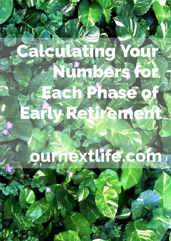 Calculating Your Numbers for Each Phase of Early Retirement // Our Next Life -- financial independence, calculations, personal finance, 401(k), IRA, taxable investments