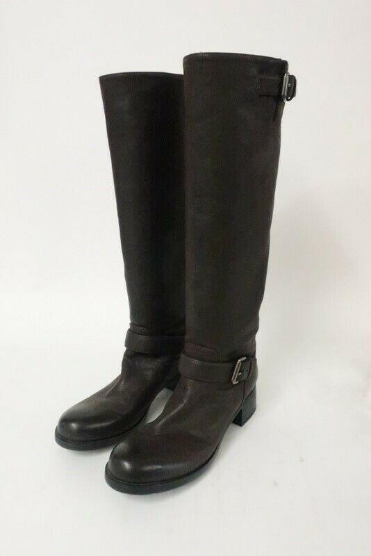2525d6f6 eBay #Sponsored Prada Knee High Moto Boot Brown Leather Size 39 ...