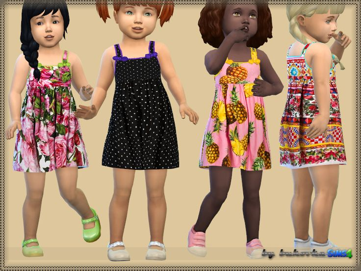 Sundress, for Toddler girls. It is installed autonomously. New mesh, 4 variants of coloring.  Found in TSR Category 'Sims 4 Toddler Female'