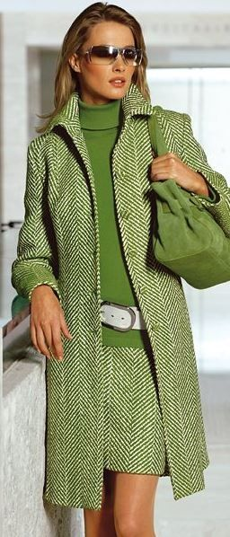 I love this color green! I would wear the jacket with denim trousers or the skirt with a caramel leather jacket but not both items together....and lose the white belt!
