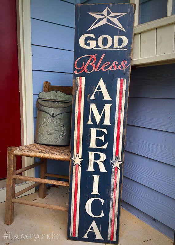 Wooden Sign God Bless America Vertical American Flag