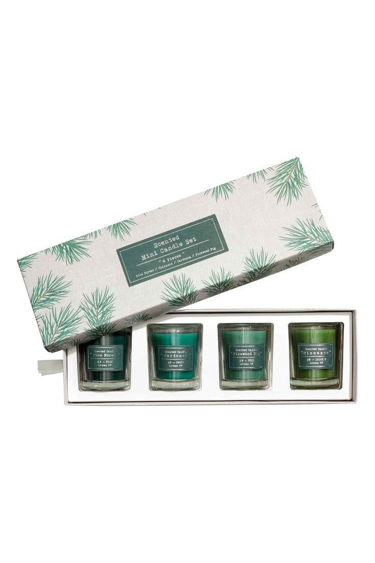 Boîte de 4 bougies parfumées - Vert - Home All   H&M FR 1