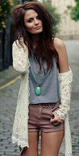 Love the lace sweater: Hair Colors, Messy Hair, Style, Lace Jackets, Lace Sweaters, Haircolor, Outfit, Big Hair, Lace Cardigans