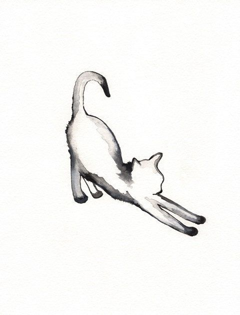 Stretching Cat / watercolor print / grey / Cat / Minimal black and white / Archival via Etsy