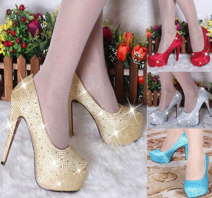 Electric Blue Glitter Wedding High Heels Crystal Shoes Party Girl Glitter Platform Bride Diamond Shoes #Other #Stilettos