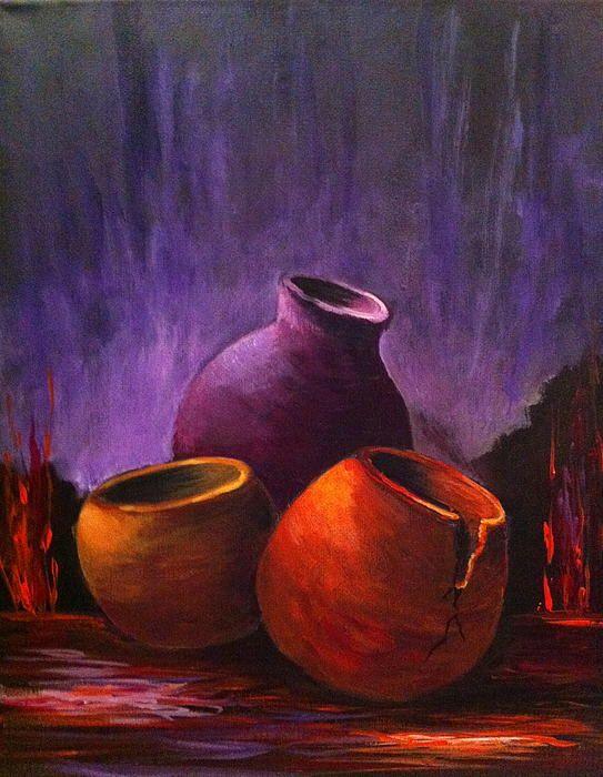 """Old Pots 2"" , acrylic on canvas by Bozena Zajaczkowska"