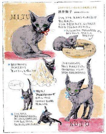 酒井駒子さんの愛猫のとてもかわいいイラスト。ウサギといい、ネコといい、動物の絵もとても可愛く繊細です。