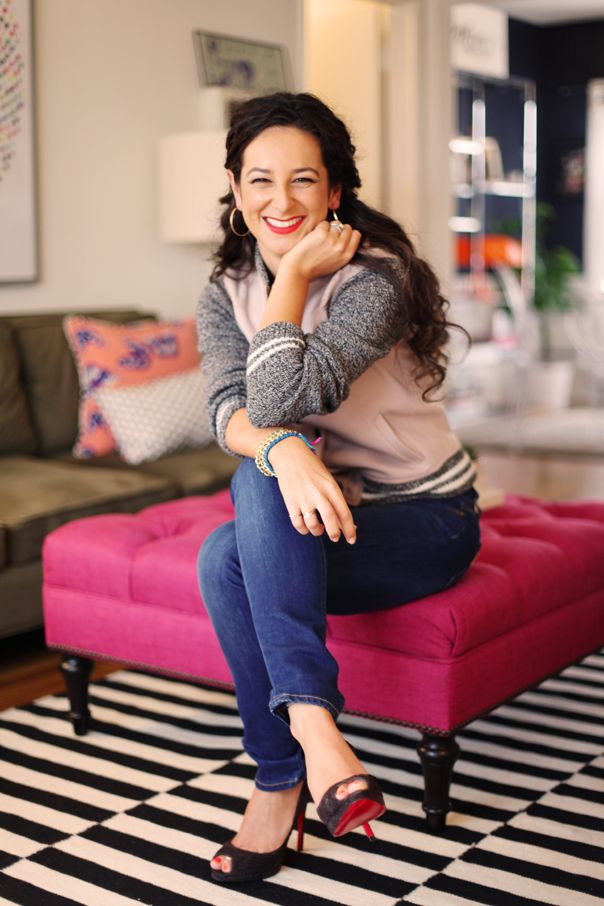 Pink tufted ottoman - Ariel Gordon's Stylish Los Angeles Home & Office | theglitterguide.com