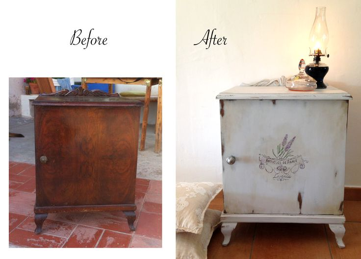 Mesilla de noche restaurada. Antes y después. Chalk Paint, todo-fleur pinturas. Dibujo a mano alzada