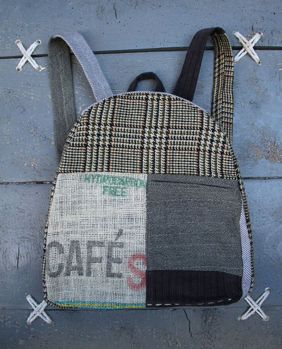 'Eating The Goober' handmade backpack made from recycled men's clothes, coffee sack and coffee sack and various textiles. Colors : different shades of brown , grey