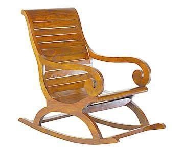 Rocking-chair bois de mindi, chocolat - L56