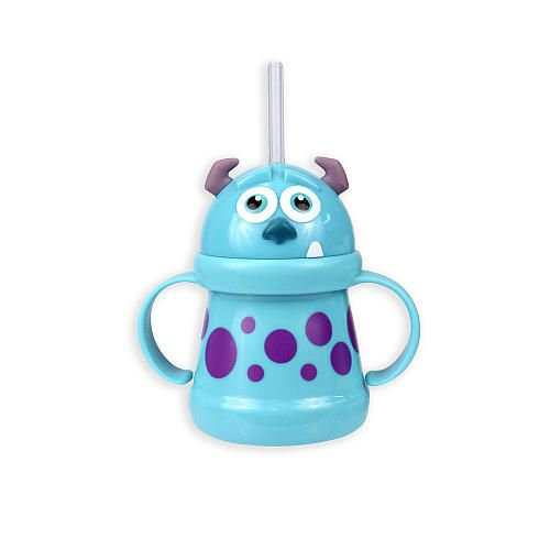 Don't be scared of this monster. This MONSTERS, INC. Sulley straw cup with handles from Sassy is just right for transitioning your little one from a sippy cup to one with an open lid. Featuring a frighteningly adorable Sulley, complete with horns and spots, along with easy-to-grip handles and a soft tip straw, this cup makes sipping easy and fun for your little monster.