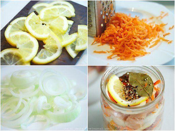 Селедка по голландски..... Вам потребуется:  2 свежемороженных сельди 2 луковицы половина лимона около 6 чайных ложек сахара 1 морковь лавровый лист (10-12 шт) 8-10 горошин черного перца (крупно смолотых