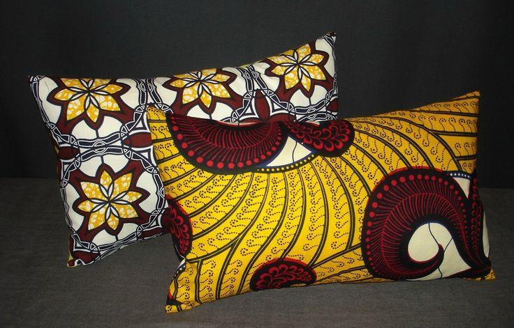 """Splendide coussin """"Africain dream"""""""" Wax 100% – 51 x 31 cm – rempli et déhoussable : Textiles et tapis par lacompagniedupatchwork"""