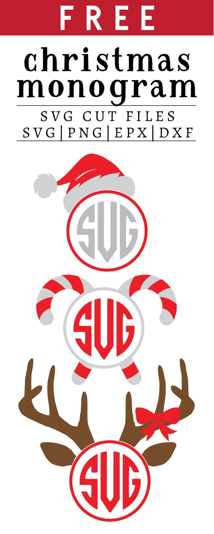 Free Christmas Monogram SVG, PNG, EPS & DXF by Cricut