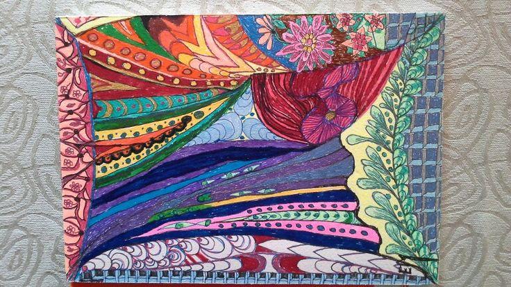 Doodle. Buttepaper 200g, 17x24cm. Gellpenne and ink. Original by Elsa Marthinsen