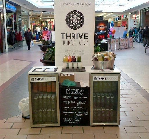 "THRIVE Juice Co. came by to promote and sample their ""cold pressed juice company"" at #TheCentre in Saskatoon."