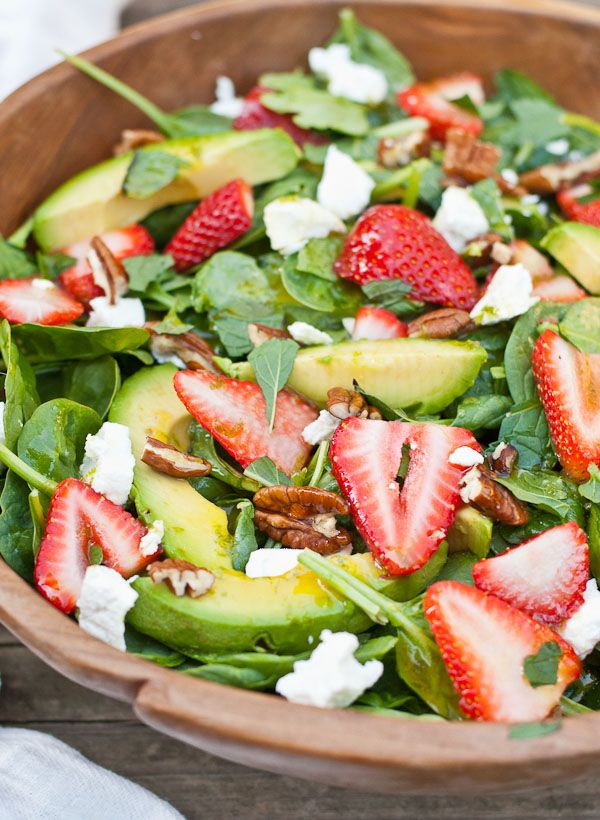 Strawberry Avocado & Goat Cheese Spinach Salad with Mojito Dressing