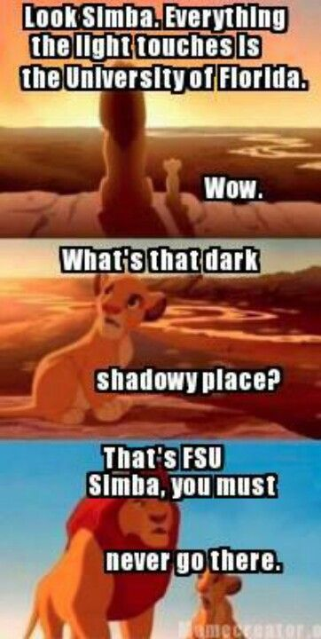 A Lesson for Simba right. MY HOME, MY LOVE, MY PRIDE, MY GATORS