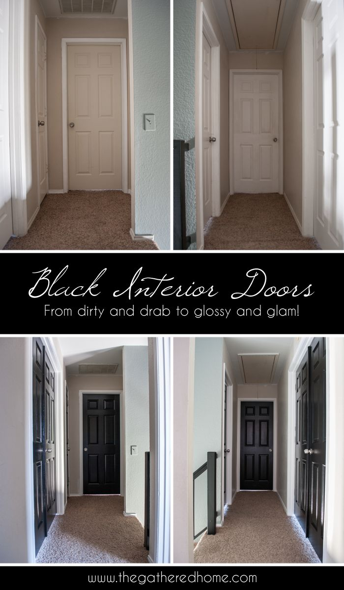 Black Interior Doors - a simple DIY project with dramatic results! A few coats of glossy black paint can completely transform dingy doors that are showing their age! www.thegatheredhome.com