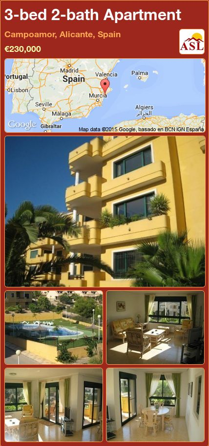 3-bed 2-bath Apartment in Campoamor, Alicante, Spain ►€230,000 #PropertyForSaleInSpain