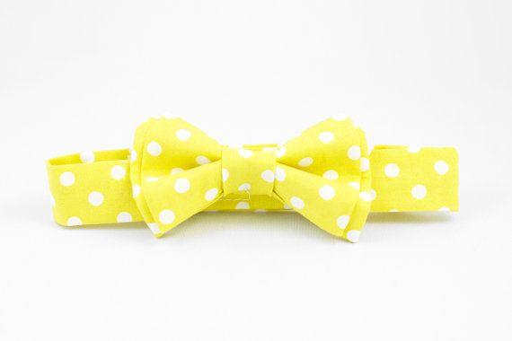 Yellow Polka Dot Boys Bow Tie Adjustable
