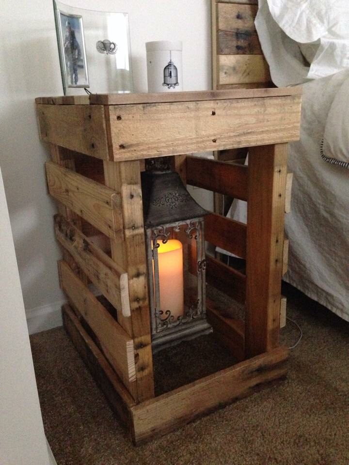 Pallet nightstand pallet ideas pinterest middle for Pallet bed frame with side tables