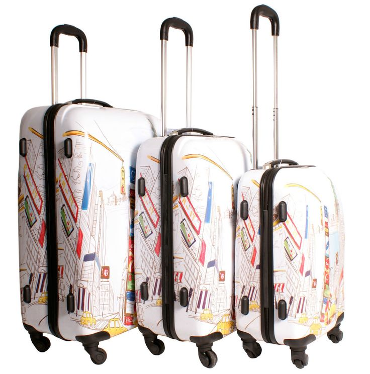 2408 New York White Multicolour Set of 3 Suitcases - 4 wheels ...