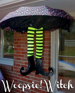 We are so in love with this DIY Whoopsie Witch! It is so easy to make. Spring is the perfect time to find a cute umbrella. Click through to the post to find the complete list of supplies needed and directions to make you own Whoopsie Witch. You will be the envy of all your neighbors this Halloween. There simply is nothing cuter than this witch so get it ready to add to your Halloween decorations this year.