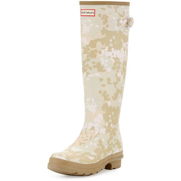 Hunter Boot Original Tall Flectarn Camouflage Rain Boot ($150) ❤ liked on Polyvore featuring shoes, boots, beige, rain boots, wellington boots, camouflage rain boots, rubber rain boots and camo rubber boots